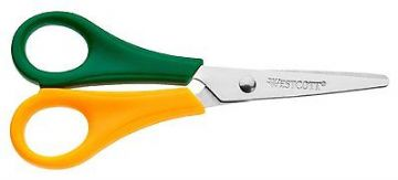CHILDRENS LEFT HANDED SCISSORS WITH RULER EDGE KIDS SCHOOL LEFTY GREEN YELLOW